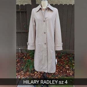 HILARY RADLEY WEATHER RESISTANT TRENCH COAT sz 4